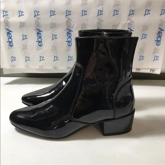 951450a7fc6 New Zara Women Ankle Boots Size 8 Shiny Black Rain